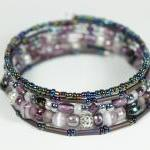 Purple Beaded Memory Wire ..