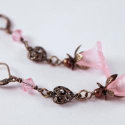 pink and antiqued brass flower dangle earrings