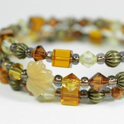 autumn inspired memory wire bracelet in golden yellow and brown