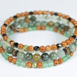 green and orange memory wire bracelet